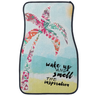 wake up and smell the inspiration, beach and palm car mat