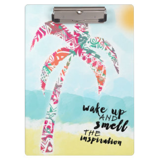 wake up and smell the inspiration, beach and palm clipboards