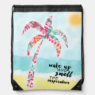 wake up and smell the inspiration, beach and palm drawstring bag
