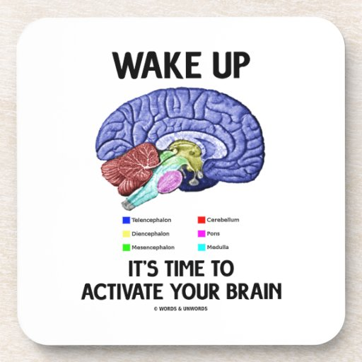 Wake Up It's Time To Activate Your Brain (Humor) Beverage Coaster