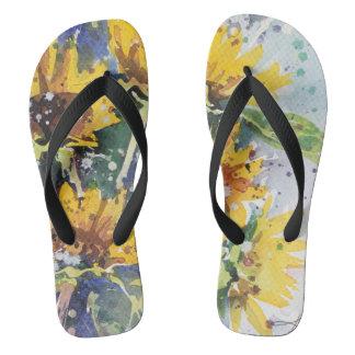 Wake up Little Suzi watercolor flip flops