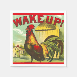 Wake Up Rooster Brunch Vintage Farm Country Decor Paper Napkin