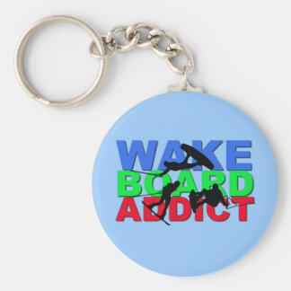 Wakeboard Addict Basic Round Button Key Ring