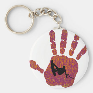 Wakeboard All Hands Basic Round Button Key Ring