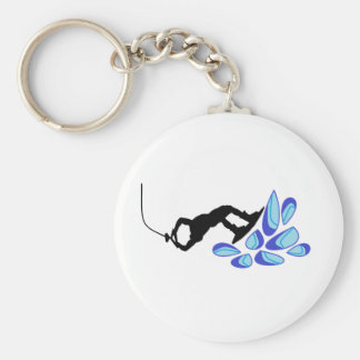 Wakeboard Blue Basic Round Button Key Ring