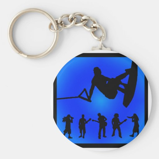 Wakeboard Blue Sounds Key Chain