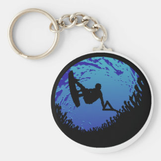 Wakeboard Bubble Burst Basic Round Button Key Ring