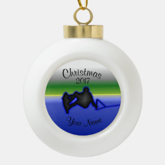 Wakeboard Ceramic Ball Christmas Ornament
