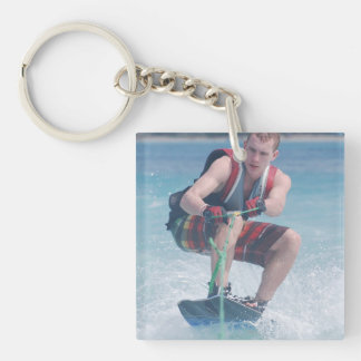 Wakeboard Crouch Single-Sided Square Acrylic Key Ring