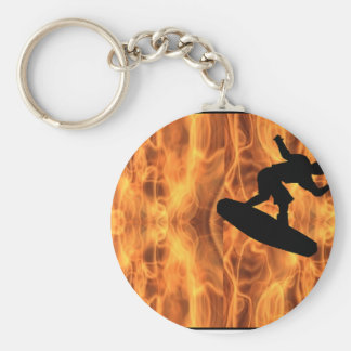 Wakeboard Fire Basic Round Button Key Ring