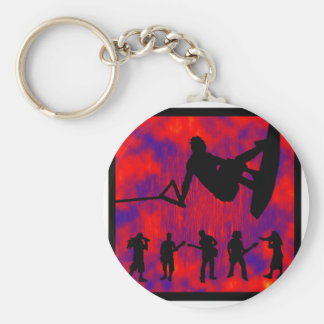 WAKEBOARD FRONT SIDED BASIC ROUND BUTTON KEY RING