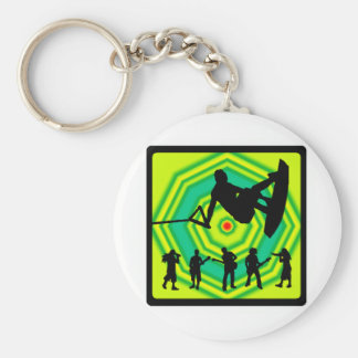 Wakeboard Green Scenes Basic Round Button Key Ring