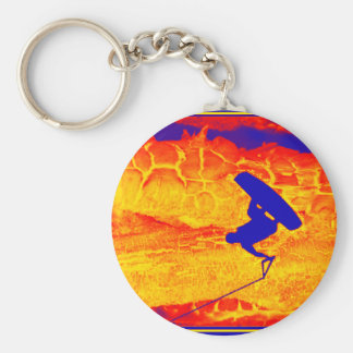 wakeboard impressions basic round button key ring