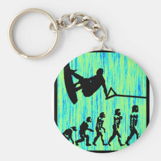 Wakeboard Styled Evolution Basic Round Button Key Ring