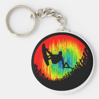 Wakeboard the Wakeboarder Basic Round Button Key Ring