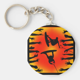 Wakeboard Think Thoughts Basic Round Button Key Ring