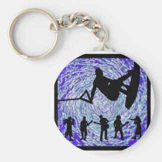 Wakeboard Trick Hop Basic Round Button Key Ring