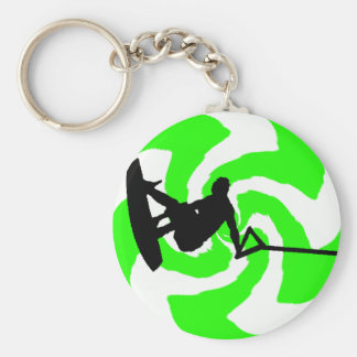 WAKEBOARD WATER DREAMS BASIC ROUND BUTTON KEY RING