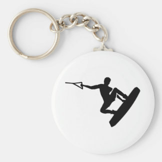 Wakeboarder Basic Round Button Key Ring