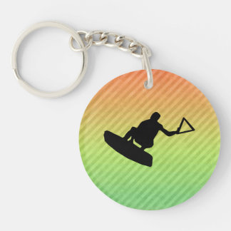Wakeboarder Double-Sided Round Acrylic Key Ring