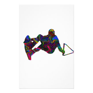 Wakeboarder Wild Colors Stationery Design