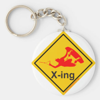 Wakeboarder x-ing and crossing basic round button key ring