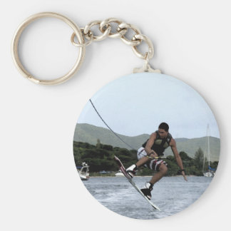 Wakeboarding Basic Round Button Key Ring