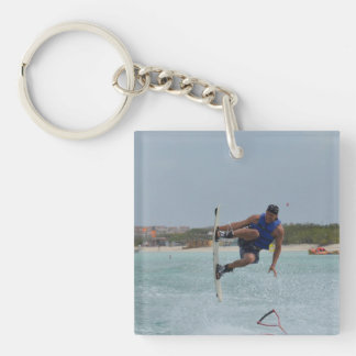 Wakeboarding Grab Single-Sided Square Acrylic Key Ring