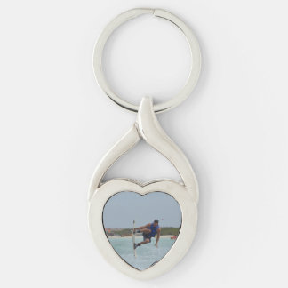Wakeboarding Grab Silver-Colored Twisted Heart Key Ring