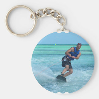 Wakeboarding in the Tropics Basic Round Button Key Ring
