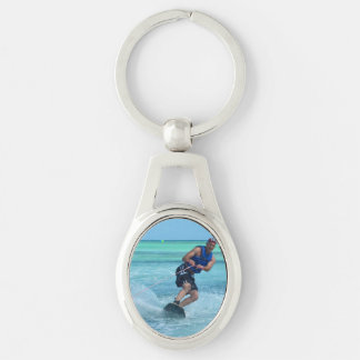 Wakeboarding in the Tropics Silver-Colored Oval Key Ring