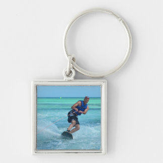 Wakeboarding in the Tropics Silver-Colored Square Key Ring