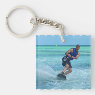 Wakeboarding in the Tropics Single-Sided Square Acrylic Key Ring