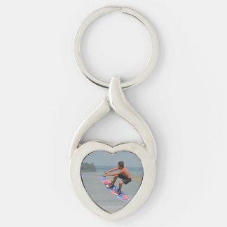 Wakeboarding Silver-Colored Twisted Heart Key Ring