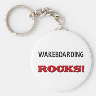 Wakeboarding Rocks Basic Round Button Key Ring