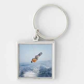 Wakeboarding Stunt Silver-Colored Square Key Ring