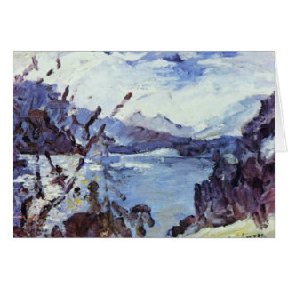 Walchensee With Mountains And Shore Slope By Corin Greeting Card