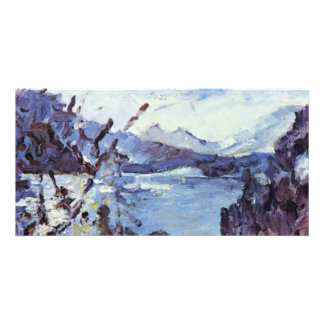 Walchensee With Mountains And Shore Slope By Corin Photo Greeting Card
