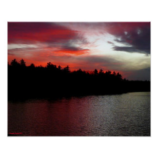 Walden Pond Poster - Deep Red Clouds