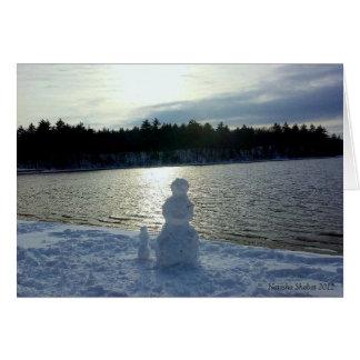 Walden Pond Snow Man Holiday Card