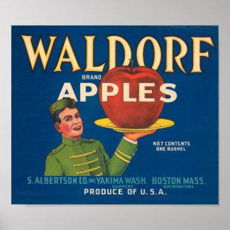 Waldorf Brand Apples Vintage Crate Label Print