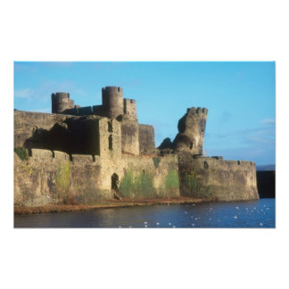 Wales - Caerphilly castle, with a view of the Photo