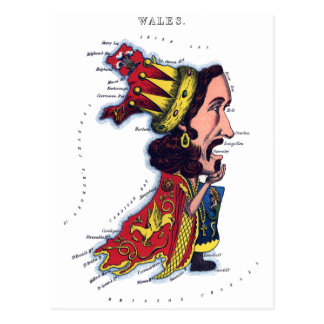 Wales Caricature Map Postcard