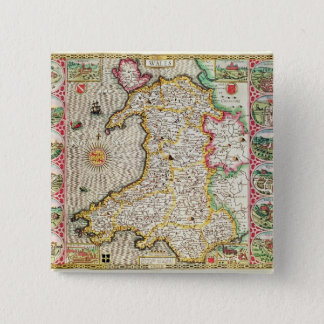 Wales, engraved by Jodocus Hondius 15 Cm Square Badge