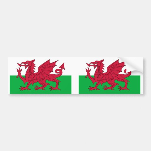 Wales flag bumper stickers