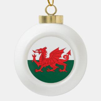 Wales Flag Ceramic Ball Christmas Ornament