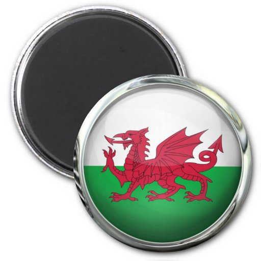 Wales Flag Glass Ball Magnet