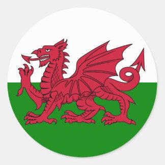 Wales Flag Heart Round Sticker