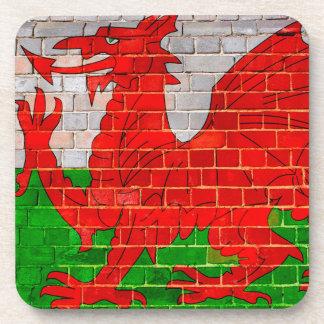 Wales flag on a brick wall coaster