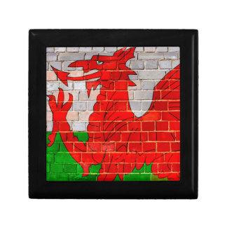 Wales flag on a brick wall gift box
